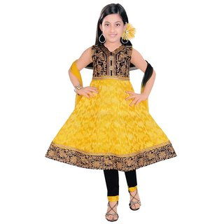 Sarrah Girls Yellow & Black Salwar Suit (Size: 24)