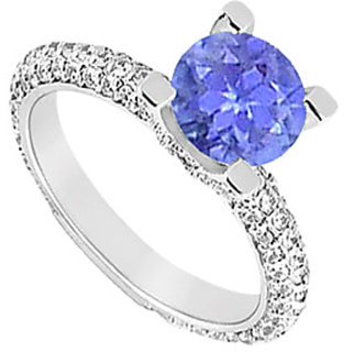 Radiant Tanzanite And Diamond Engagement Ring With 14K White Gold Design 1