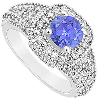 Pulchritudinous Tanzanite And Diamond Engagement Ring With 14K White Gold Design 1