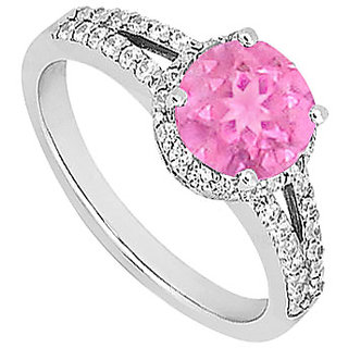 Statuesque Pink Sapphire And Diamond Engagement Ring With 14K White Gold Design 2