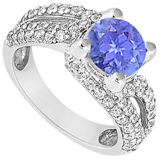 Ravishing Sapphire And Diamond Engagement Ring With 14K White Gold Design 4