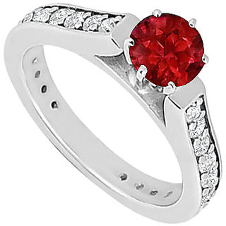 Splendid Ruby And Diamond Engagement Ring With 14K White Gold