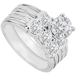 Pulchritudinous With 14K White Gold Diamond Engagement Ring With Wedding Band Set
