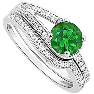 Radiant Emerald And Diamond Engagement Ring With Wedding Band Set With 14K White Gold