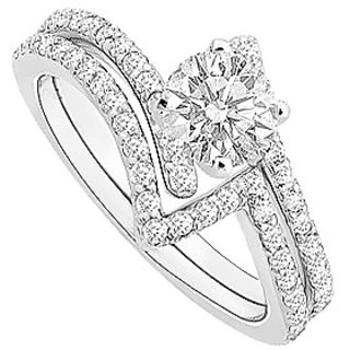 Shapely Diamond Engagement Ring With Wedding Band Set With 14K White Gold