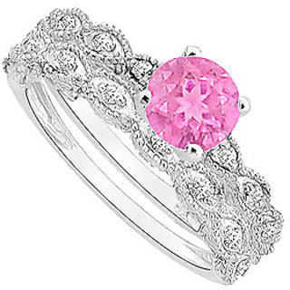 Resplendent Pink Sapphire And Diamond Engagement Ring With Wedding Band Set With 14K White Gold Design 1