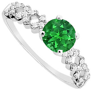Statuesque Emerald And Diamond Engagement Ring With 14K White Gold Design 1