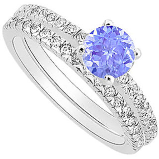 Resplendent Tanzanite And Diamond Engagement Ring With Wedding Band Set With 14K White Gold