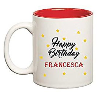 Huppme Happy Birthday Francesca Inner Red Mug