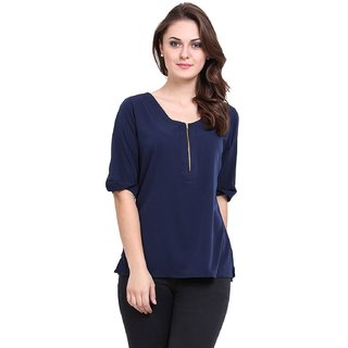 Blue Quarter Sleeves Cotton Top for Women