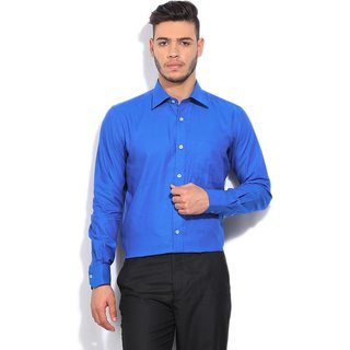 Men's Self Design Formal Blue Shirt