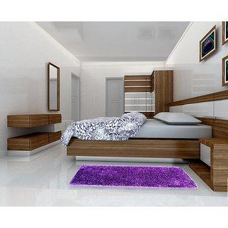 Shaggy Purple With Grey Floor Rug 2x5 Feet
