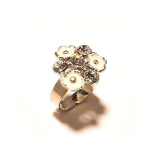 sanaa creations  Silver Plated with white Ennamell CZ Studded Ring