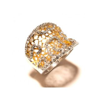 sanaa creations Net Shpae 2 Tone Silver  Gold Plated Studded with CZ Ring