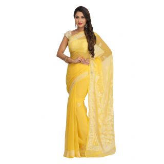 Ada Hand Embroidered Yellow Faux Georgette Lucknowi Chikan Saree With Blouse - A130203