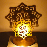 Shadow Diya Tealight Candle Holder Of Removable Ganesha