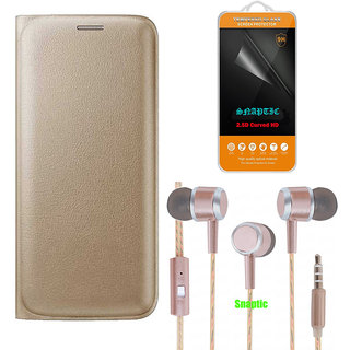 Snaptic Golden Leather Flip Cover for Samsung Galaxy J5 Prime with 2.5D HD Tempered Glass and Rose Gold Earphones with M