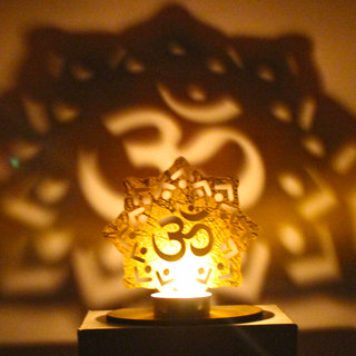 Shadow Diya Tealight Candle Holder of Removable OM