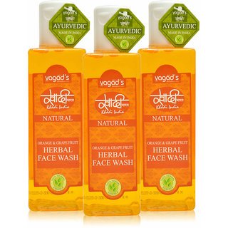 Khadi Vagad's Orange  Grapefruit Herbal Face Wash (100ml x 3)