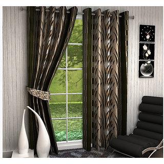 Home Luxurious 2 Piece New Premium Designer Curtains ( Size - Length 7Ft Width 4ft )