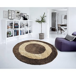 Soft Brown Micro Round Carpet 130 Cms