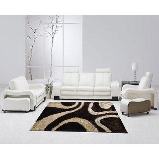 Brown And Beige Shaggy Carpet 3x5 Feet