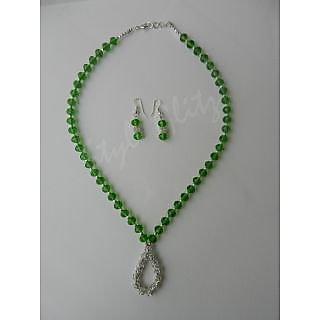 Bottle Green Crystal Beads Necklace Set