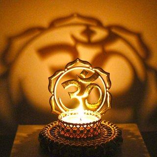 Shadow Diya Tealight Candle Holder of Removable Ethnic Designary OM