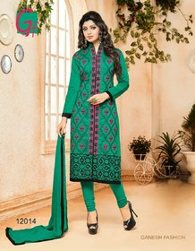Light Green  Red Embroidered Chanderi Cotton Unstitched Dress Material