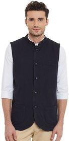 Hypernation Mens Black Sleeveless Nehru Jacket
