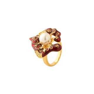 sanaa creartions Gold Plated Red Enamel CZ Ring for All Occasions with Pearl