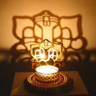 Shadow Diya Tealight Candle Holder of Removable Ethnic Designary Ganesha