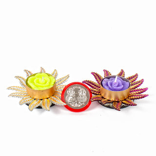 Traditional Two Floating Diya with Silver Plated Lakshmi Ganesha Coin