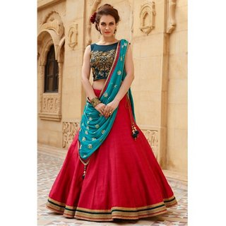 Helix New Banglori Silk Navy Blue And Red Embroidered Semi Stitched Lehegha Choli