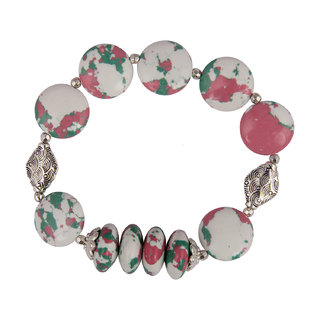 Pearlz Ocean Coin And Roundel Shaped Mosaic Beads Stretchable Bracelet