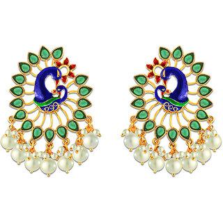 Spargz Dancing Peacock Meenakari Pearl Gold Plating Hanging Earrings For Women AIER 637