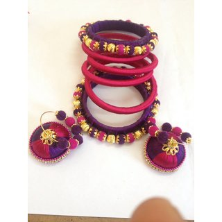 shravani's silk thread bangles and ear rings set 2