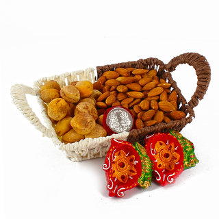 Almond and Dry Apricot In Basket with Earthen Diya Included Silver Plated Lakshmi Ganesha Coin