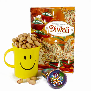 Two Diwali Clay Diya and Pista Nut Smiley Mug with Diwali Greeting Card