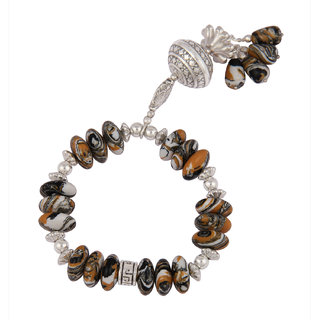 Pearlz Ocean Designer Drop and Roundel Shaped Mosaic Beads Stretchable Bracelet