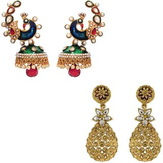 Om Jewells Antique Gold Plated Combo of 2 Earrings with Kundan  Artificial Pearls CO1000019