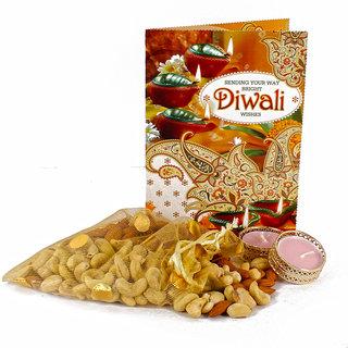 Diwali Diya with Greeting Card and Kaju Badam Pouch