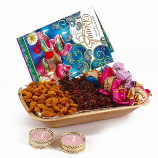 Diwali Diya Hamper Included Pan Masala Almonds And Chocolates with Greeting Card