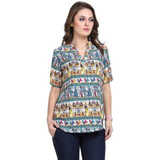 Multicoloured Printed Cotton Top for Women