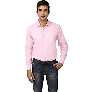 Jain's Men's Casual Pink Shirt