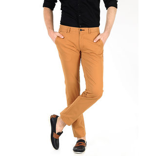 Basics Casual Plain Khaki Cotton Elastane Tapered Trousers