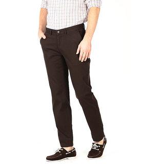 Basics Casual Self Brown Cotton Elastane Slim Trousers