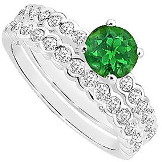 Superb Emerald And Diamond Engagement Ring With Wedding Band Set With 14K White Gold