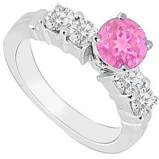 Superb With 14K White Gold Pink Sapphire And Diamond Engagement Ring
