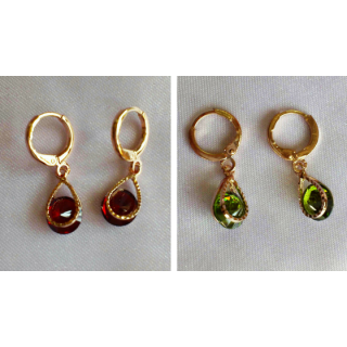 Rose Gold Ear Ring - 2 pairs - Red and Green Drops